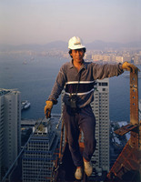 High Steel Worker on 34th Floor, Bank of China Building, 8x10 for Fortune Magazine