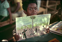 A mute child draws chilling images of Khmer Rouge atrocities from his memory, Sakeo Camp, Thai-Cambodia border 1979 for Time Magazine