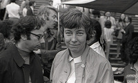 "Sister Elizabeth McAlister, one of the ""Harrisburg Seven"" at an Anti-War demonstration in